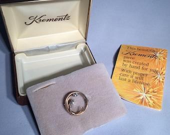 Vintage Krementz 14kt Gold Overlay Round Brooch with Clear Rhinestones in Original Box with Insert