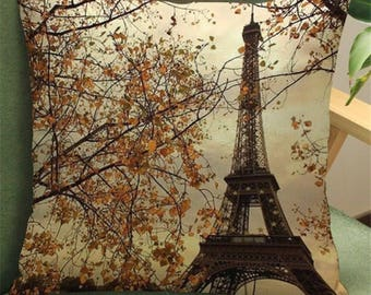 Paris Eiffel Tower with fall autumn leaves vintage style square linen throw cushion pillow cover