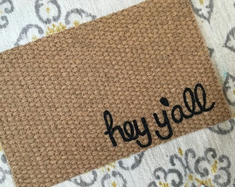 Mini Hey Y'all Welcome Mat!  Quirky and adorable doormats for fun people!