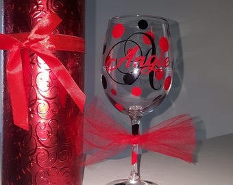 Personalized wine glass with case