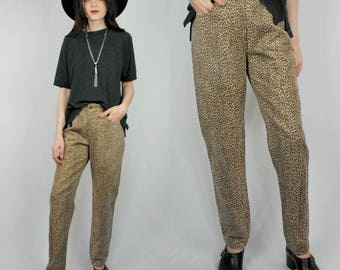 Leopard print high waist high rise tapered jeans 1990s 90s VINTAGE