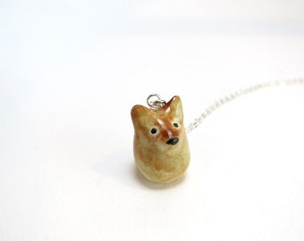Brown Dog Necklace Ceramic Dog Charm Dog Lover Gift Dog Jewelry Porcelain Dog Jewelry Puppy Pendant Dog Charm Ceramic Animal Pet Necklace