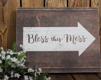 Bless This Mess,Framed Wall Art,Inspirational Quote,Framed Quotes,Birthday Gift Her,Farmhouse Decor,Wood Sign,Rustic Wood Sign,Wood Wall Art
