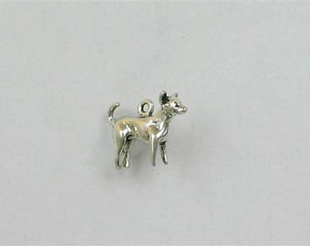 Sterling Silver 22mm Standing Chihuahua Charm