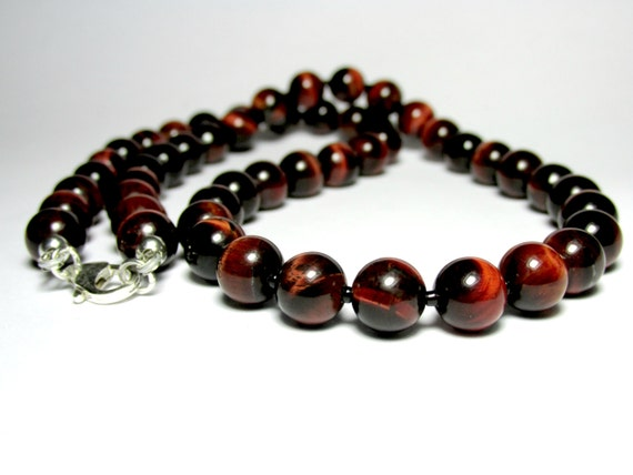 Mens red tiger eye necklace mens beaded necklace mens silver mozeypictures Images