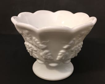 Vintage Milk Glass Bowl, Westmoreland Milk Glass Paneled Grape Bowl, Candy Dish, Pedestal Bowl