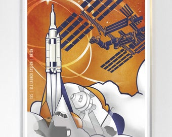 18 x 24 - International Space Station - Orion , Science Poster Art Print  - Stellar Science Series™ - Wall Art