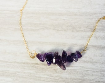 Amethyst Necklace, Amethyst Nugget Necklace, Gold Necklace, Silver Necklace, Layering Necklace, Boho Necklace, February Birthstone