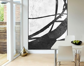 original abstrct painting on large canvas Black and White color, tree original Painting handmade, large Abstract art,