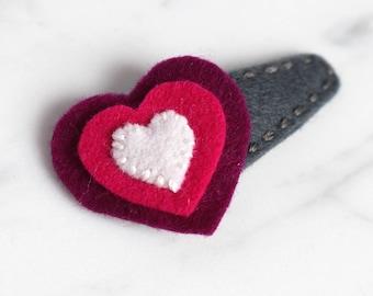 Heart Wool Felt Hair Clip - Fuchsia, Berry, White on Gray - Toddler Felt Hair Clip - Girls Hair Clip - Valentines Hair Clip