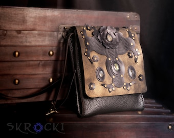 cross body bags for women, handmade purse with flowers and stones, shoulder bag with adjustable strap, gold and black bag, gemston