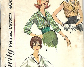 1960's Simplicity 3559 Misses Blouse Sewing Pattern, Size 12, Bust 32