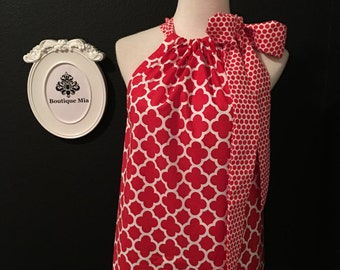 Pillowcase DRESS or TOP - Riley Blake - Quatrefoil - Red & White - Plus size, Petite - Made in ANY Size - Boutique Mia