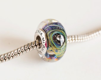 Cubic zirconia Lampwork beads. Pandora charms. Silver cored beads. Large hole beads, European bracelet beads. Gift for her. European charm