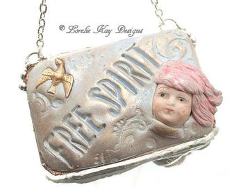 Free Spirit Necklace Pink Hair Girl China Doll Head Mixed Media Solder and Clay Pendant Lorelie Kay Original