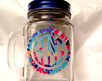 Big Little Sorority Mason Jar - Lilly Pulitzer Monogram Mason Jar - Custom Mason Jar - Monogram Mason Jar