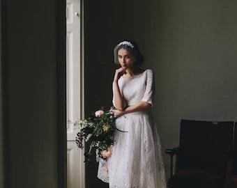 Ivory Birdcage Veil with Lace - Vintage Wedding Veil - Bridal Face Veil - French Net veil - Vintage wedding Dress