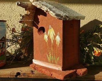 birdhouse,primitive,rustic birdhouse,the birdhouse of orange,garden decor,outdoor birdhouse,handmade bird house,gift,farmhouse, daisies,wood