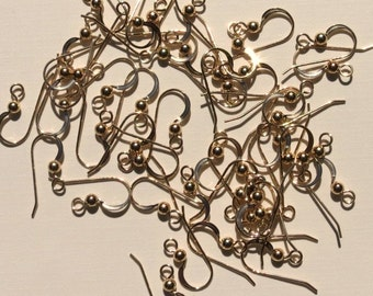 Gold Earwires - Gold Filled - French Earwires - With Ball - 5 Pairs - 10 Pieces