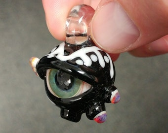 Bloodshot Eye Glass Pendant With Runic Lid Accents