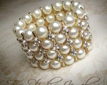 Pearl Bridal Cuff Bracelet Multi Strand Ivory and Gold Wedding Jewelry