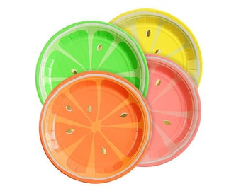 Small Neon Citrus Plates - Pack of 8