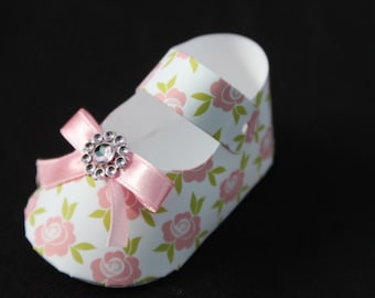 25 DIY  roses flowers baby shoe Shaped Party favor boxes  baby shower