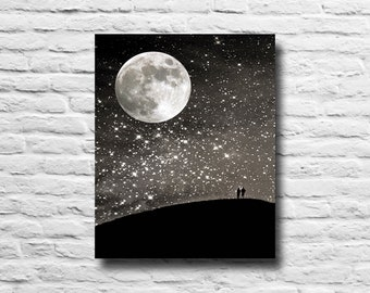 Night sky. Full moon. Silhouettes. stars starry night sky. black and white. silver. Surreal. dreamy. romantic. canvas wall art. home decor
