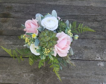 Rustic Country Wedding Bridesmaid Bouquet Pink True Touch Roses Succulents Boxwood Lambs Ear Fern Lace Twine