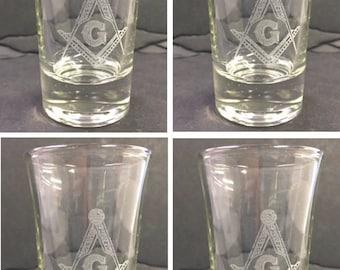 Masonic or Shrine Shot Glasses ( set of 4 )