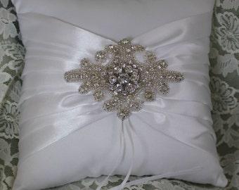 WHITE Satin Ring Bearer Pillow with Rhinestone Bling
