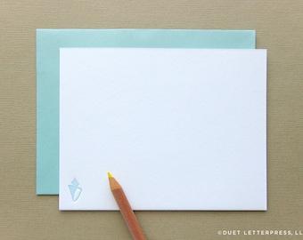 letterpress sea shell note cards