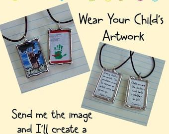 Dessin de bijoux, soudé Art charme, œuvres d'art de votre enfant, personnalisé Art breloque, collier en verre, fait sur mesure, mémoire souvenir, souvenir