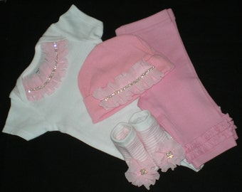Newborn Baby Girl Outfit, Hospital Outfit Take Me Home, Bodysuit, Baby Clothes, Baby Outfit