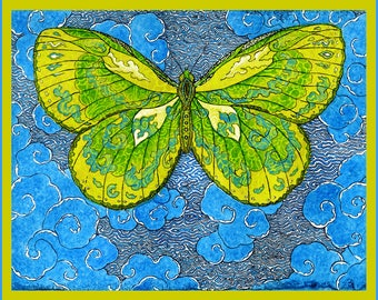 Papillon D'Esprit in lime, Archival Hand Made Vertical 5 x 7 Greeting Card