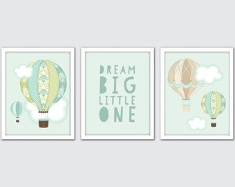 Hot Air Balloon Wall Art, Set Of 3, Baby Boy Nursery Decor, Adventure Art Gift, Baby Boy Nursery Art, Boys Room Decor, Adventure Nursery