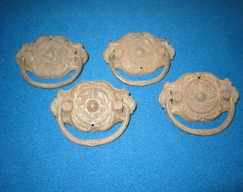 Vintage Lot of 4 Salvaged Drawer Handles for Furniture Assemblage Lot G