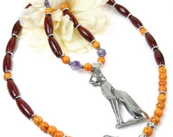 Egyptian Cat Necklace, Bastet Maternal Good Luck Necklace, Bast Goddess Eye of Horus Amulet, Tribal Boho Statement Necklace, Protective Eye