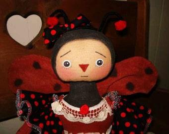 ARTIST LADYBUG Doll Pattern, 19 inch Lady Bug Doll Pattern Raggedydays #165