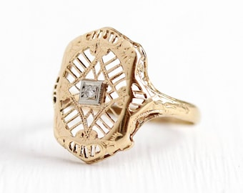 Sale - Vintage Filigree Ring - 10k Yellow Gold Diamond Shield Jewelry - Art Deco 1930s Size 6 1/2 Fine Statement Floral Embossed Open Metal