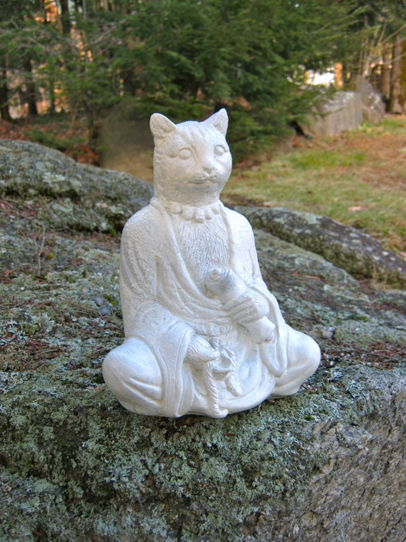 buddha cat with scroll 9 concrete feline statue cement. Black Bedroom Furniture Sets. Home Design Ideas