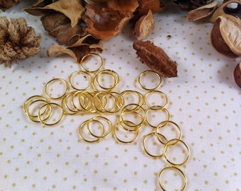 20 rings open in 12 x 1 mm, gold, round shaped, simple