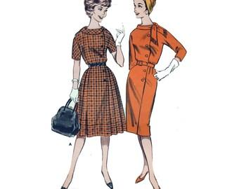 "50s Vintage Sewing Pattern for Coat Dress - Side-Buttoned Coatdress Pattern - UNCUT Size 16 Bust 34"" (86 cm) - Butterick 9504"