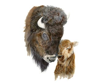 Farmhouse Nursery - Bison Print - Southwestern Decor - Mom and Baby Bison - Nursery Decor - Bison Art - Farmhouse Decor - North American