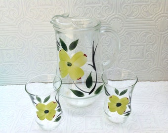 Handpainted Dogwood Blossom Pitcher and Tumbler Set