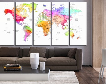 World map push pin canvas, World map with countries art print, Push pin travel world map wall print, push pin map extra large wall art hr35