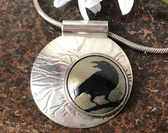"""Vintage Sterling Crow Necklace Mid Century Modern Sterling Black Crow Pendant Necklace Vintage Sterling Black Bird Necklace 18"""""""