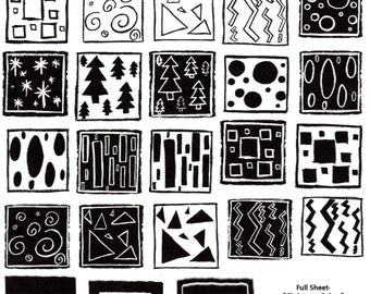 Full Sheet Red Rubber Stamps Original Christmas Cubes designs 28 stamps