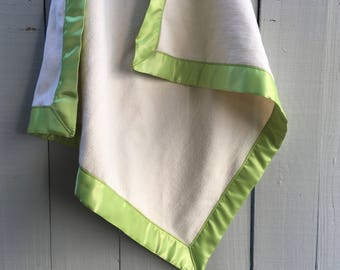 Organic Cotton Fleece Baby Blanket with Citrus Lime Green Satin Trim, Citrus Green Satin Baby Blanket, Organic LOVEY, Ready to Ship