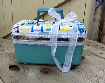 Upcycled Samsonite Train Case in Travel Theme/Turquoise
